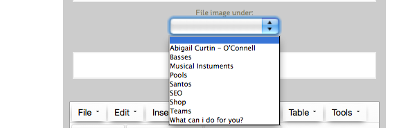 choose a file folder to file the image under