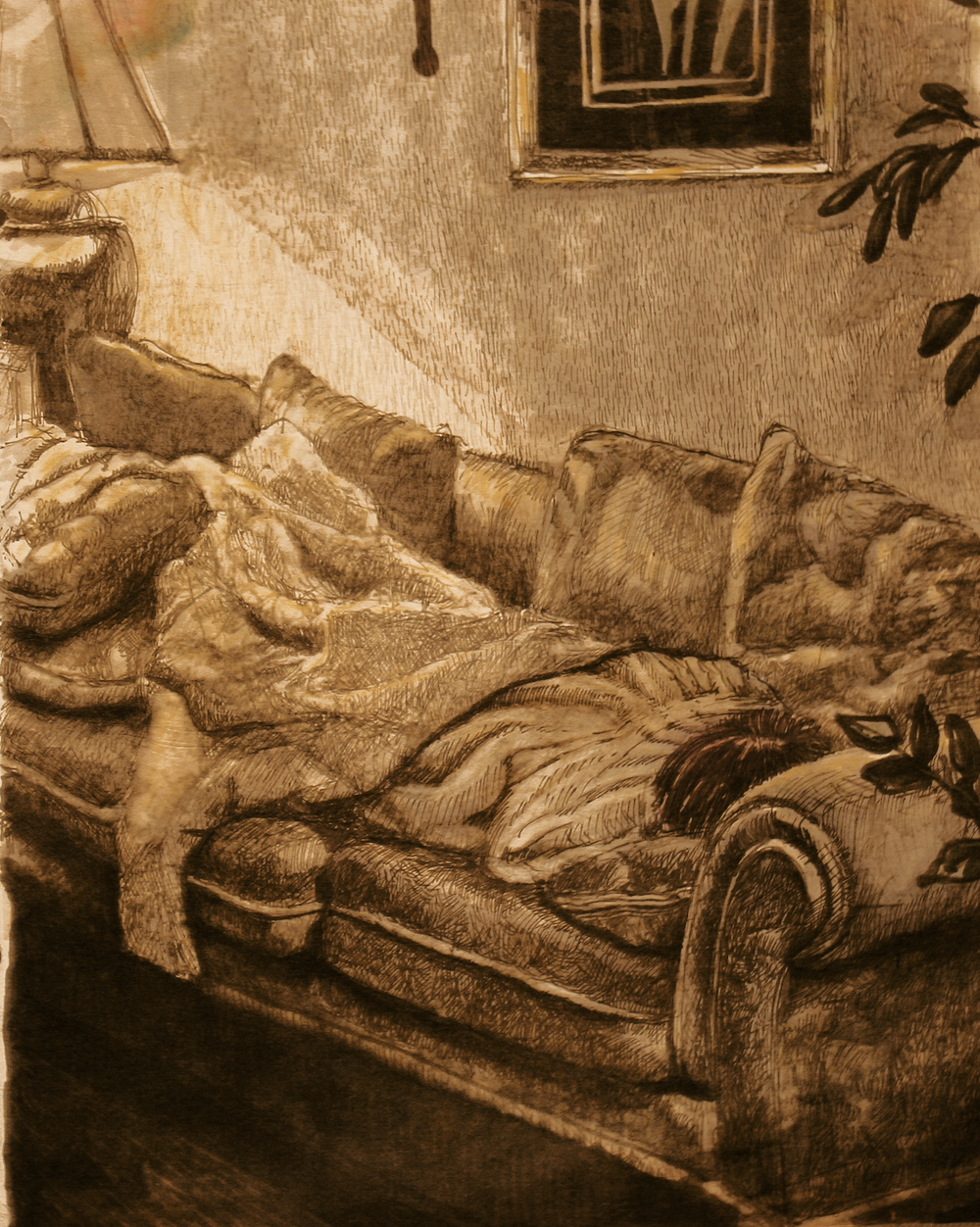 Michelle two ells having a nap.-original drawing using permanent marker and ink by freelance cork artist, web site designer and developer