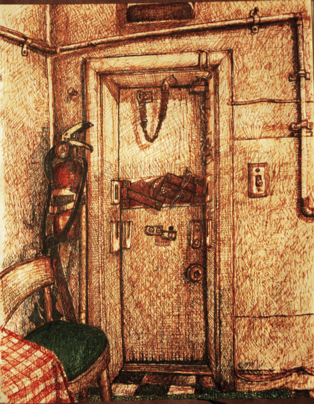 Rear Door - original drawing using permanent marker and ink by-cork-ireland-freelance-artist---art-van-leeuwen
