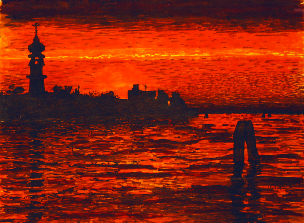 Venice at Sunset - water laps as the sun sets - original drawing using permanent marker and ink - by Cork Ireland Freelance Artist - Art van Leeuwen
