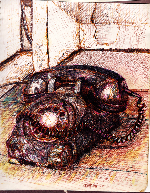 Phunky Phone original drawing using permanent marker and ink  by Cork Ireland Freelance Artist - Art van Leeuwen