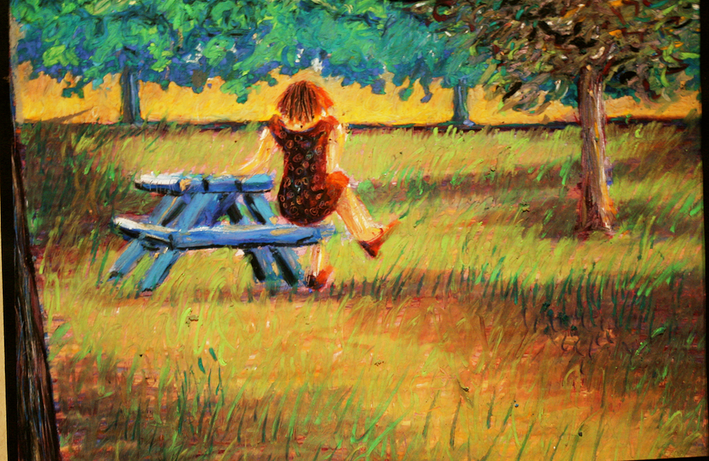 Lunch Break - original drawing using pastels - by Cork Ireland Freelance Artist - Art van Leeuwen