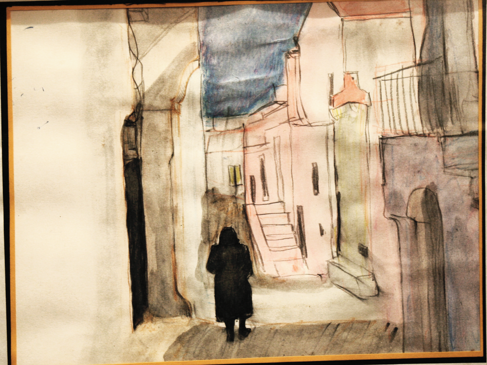 Lone Widow on the street in Calabria - Water color washes and water color pencil on paper -by Cork Ireland Freelance Artist - Art van Leeuwen