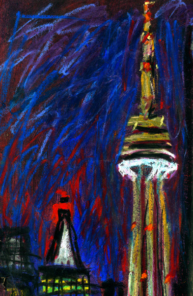 Toronto Two Towers - original drawing using pastels - by Cork Ireland Freelance Artist - Art van Leeuwen