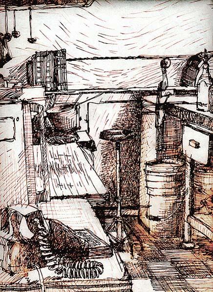 Waiting for Orders - original drawing using permanent marker and ink by Cork Ireland Freelance Artist - Art van Leeuwen
