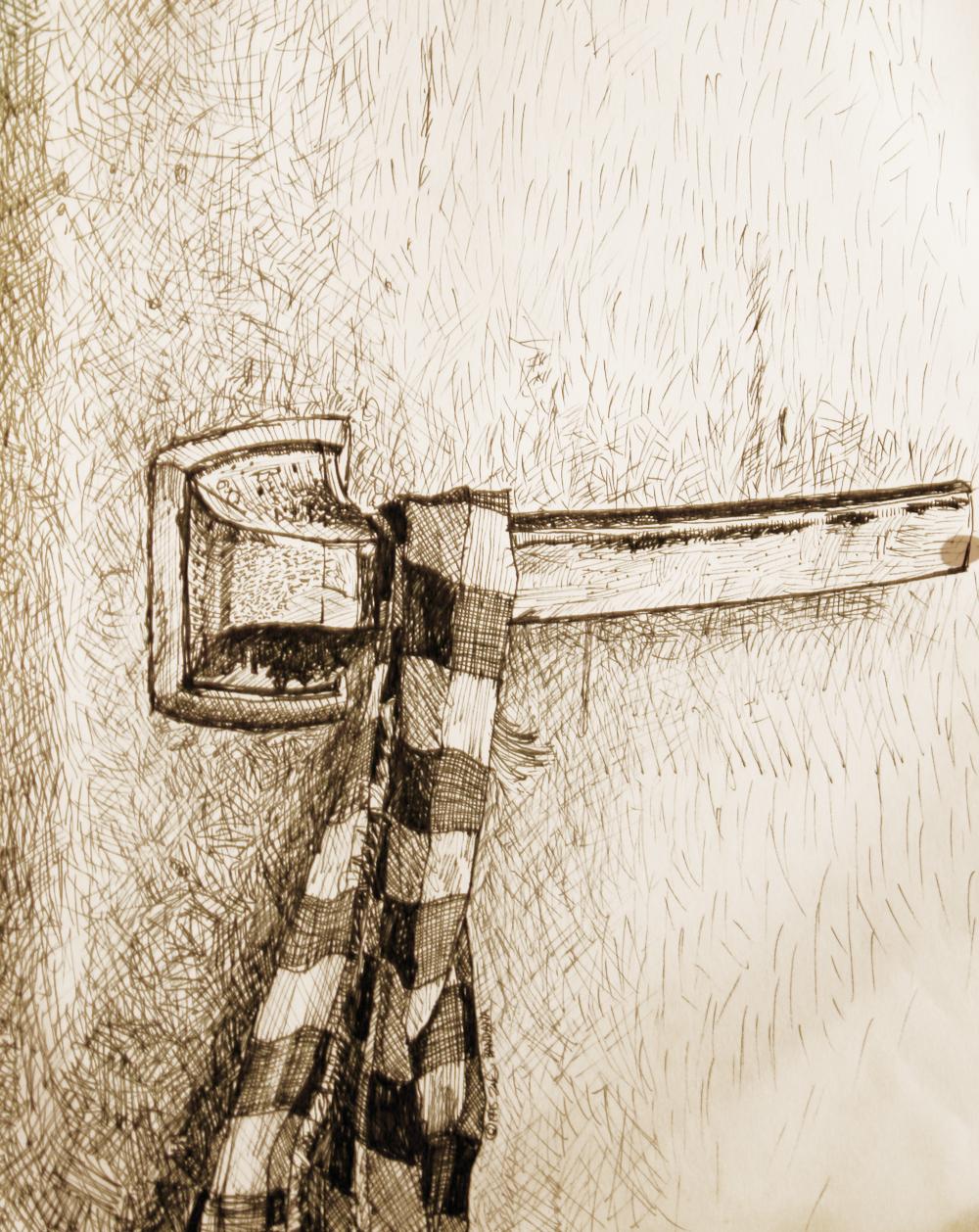 Fridge Door and Hot Pot Cloth - original drawing using permanent marker and ink by Cork Ireland Freelance Artist - Art van Leeuwen