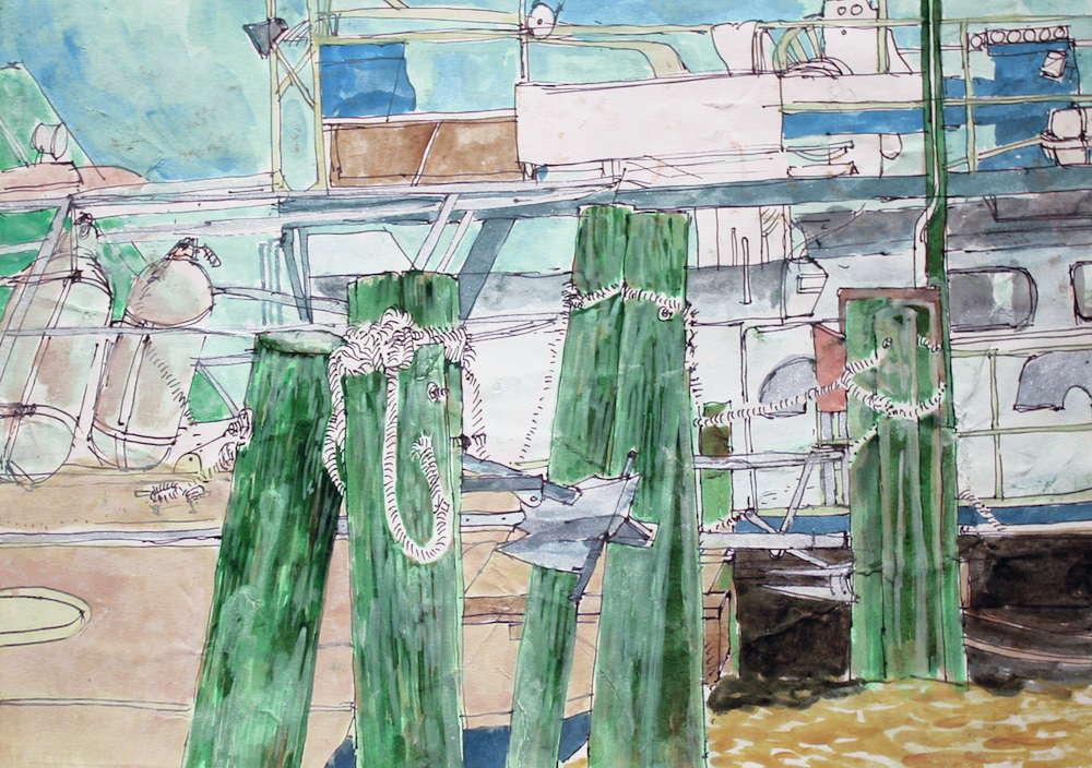 Belize Dock -Acrylic on paper- by Cork Ireland Freelance Artist - Art van Leeuwen