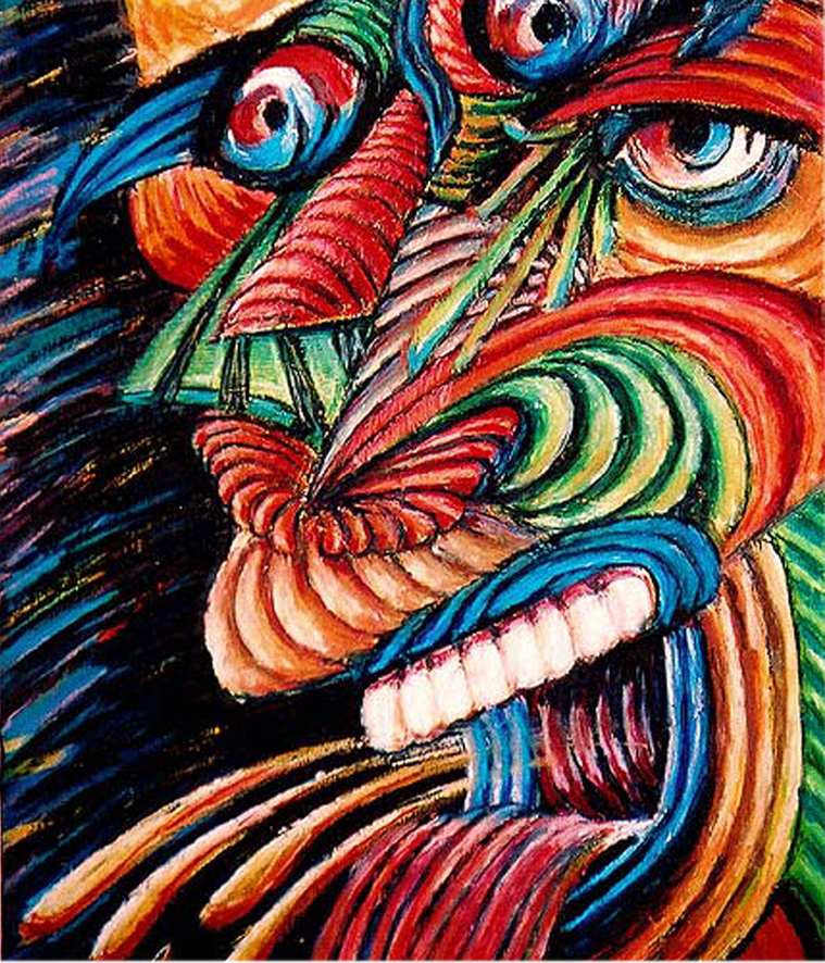 Split Ego Pastel Crayon  on Board - by Cork Ireland Freelance Artist - Art van Leeuwen