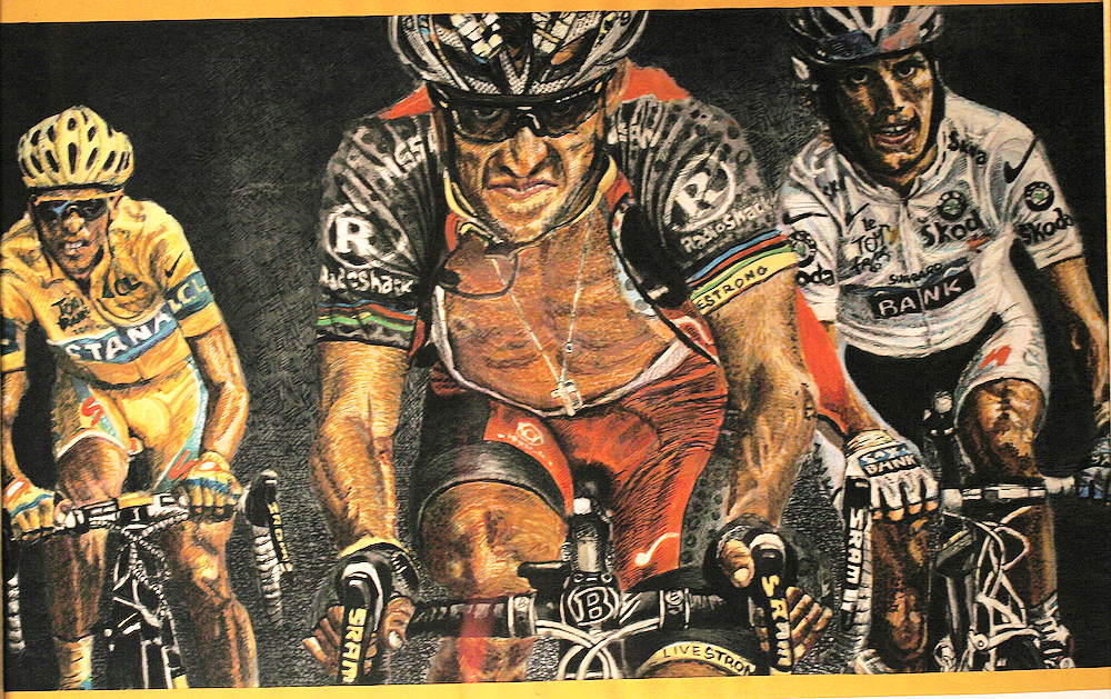 Alberto Contador - Lance Armstrong - Andy Shleck- Tour de France 2010 - Marker and ink on paper - by Cork Ireland Freelance Artist - Art van Leeuwen