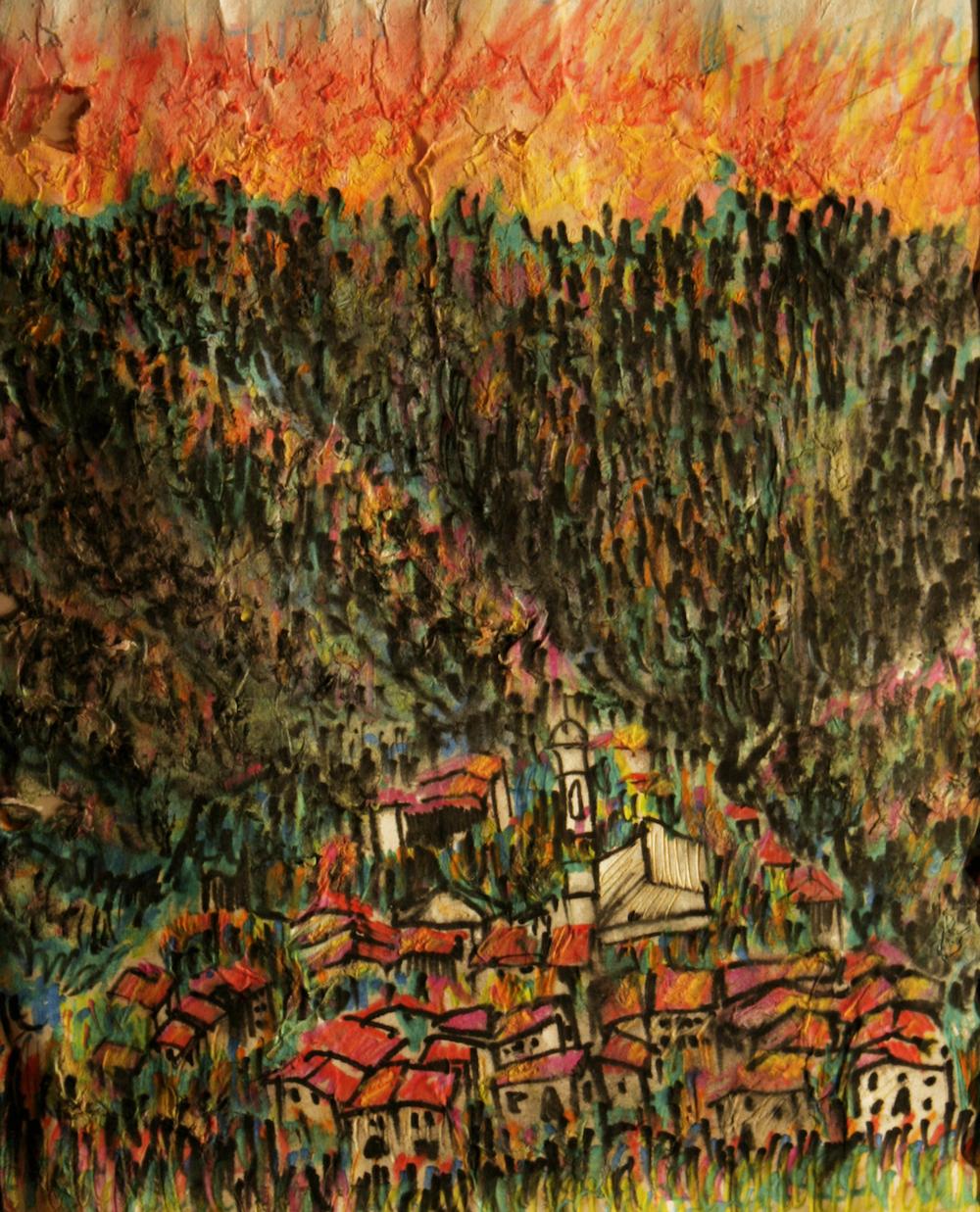 original drawing using water color pencils by cork artist, web site designer and developer