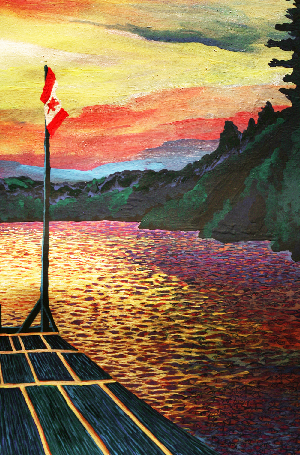 Laurentian View Resort - Cottage 1 Dock - original painting using acrylic  by freelance cork artist, web site designer and developer