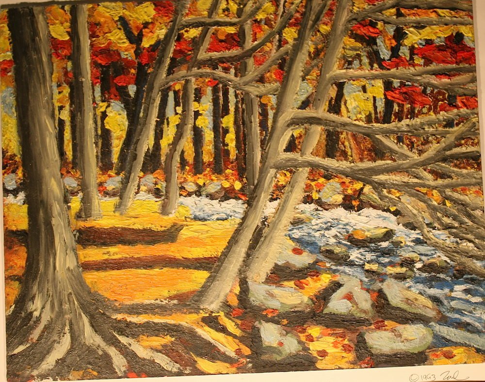 Gravenhurst River Fall Day-original painting using oil  by freelance cork artist, web site designer and developer