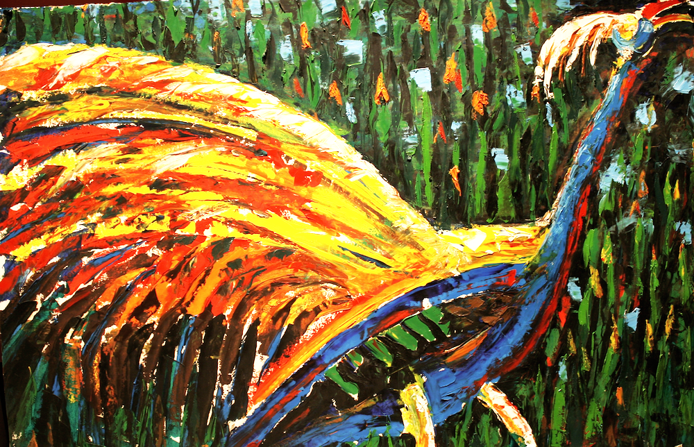 The Peacock Rooster-original painting using oil  by freelance cork artist, web site designer and developer