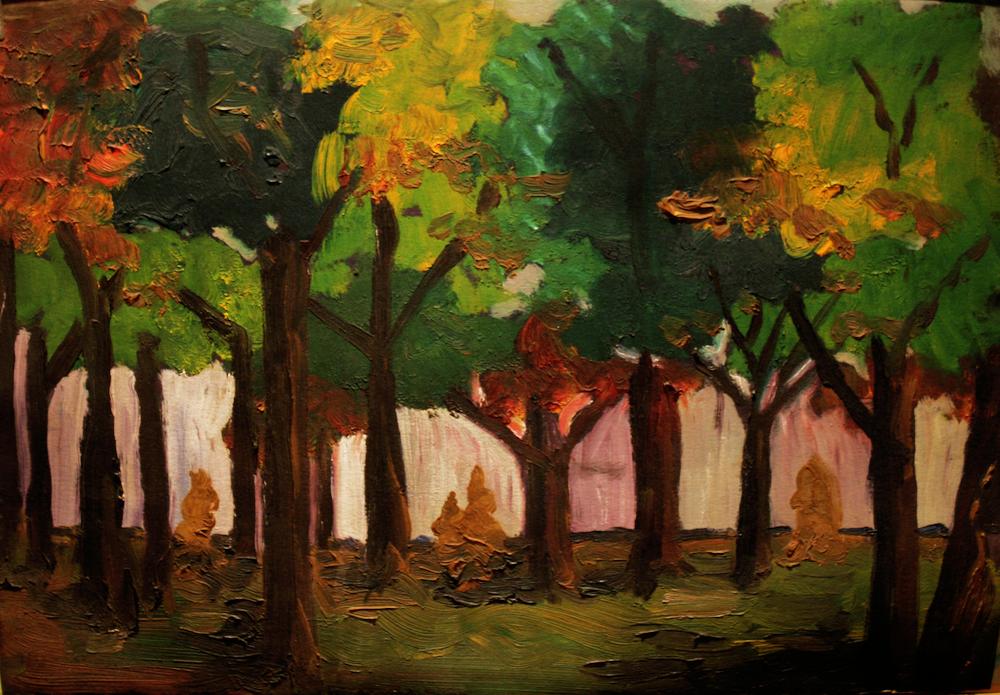 Thompson Park - original painting using oils  by freelance cork artist, web site designer and developer