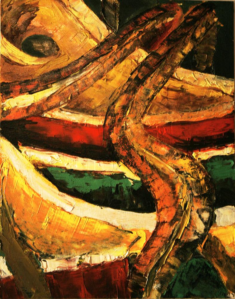 Warped Entrails - original painting using oil  by freelance cork artist, web site designer and developer