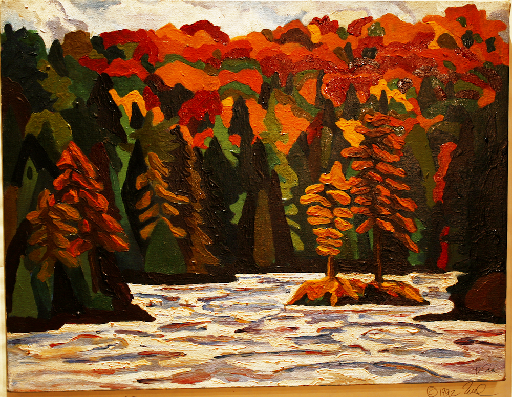Daisy Lake - Algonquin Provincial Park-original painting using oil  by freelance cork artist, web site designer and developer