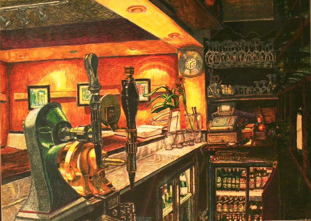 Hardwood Restaurant - Behind the bar-original painting using permanent marker and ink by freelance cork artist, web site designer and developer
