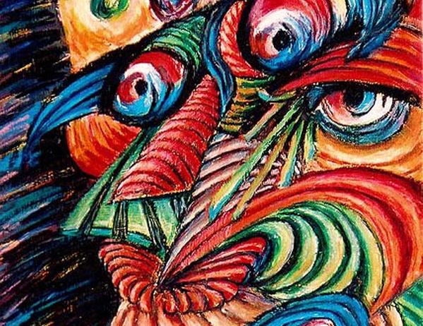 Split Ego-original illustration using Oil pastels by cork freelance artist, web site designer and developer