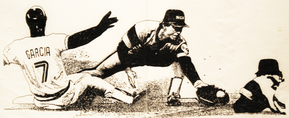 Domaso Garcia slide into second-original drawing using ink by cork freelance artist, web site designer and developer