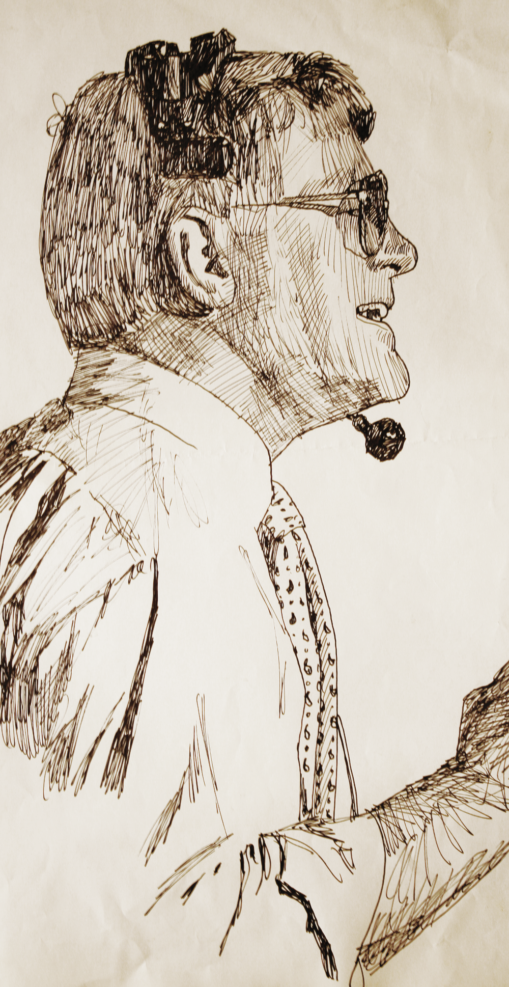 Dan Reeves - Denver broncos Head Coach-original drawing using ink by cork freelance artist, web site designer and developer