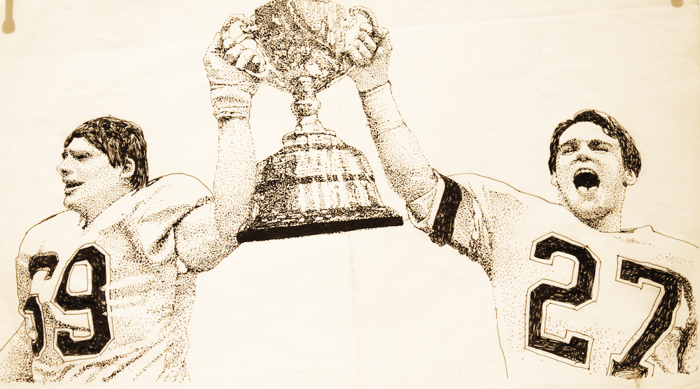 Grey Cup Champions-original drawing using ink by cork freelance artist, web site designer and developer