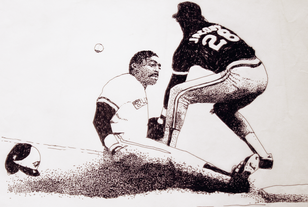 Willie Upshaw slides into first-original drawing using ink by cork freelance artist, web site designer and developer